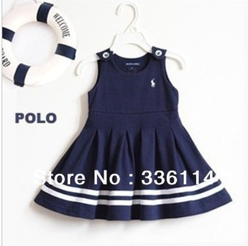 Free shipping!2013 Hot Sale Children's clothing Baby Girl's Dress PoLo Blue vest dress