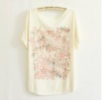 2013 thin plus size loose batwing sleeve women's short-sleeve T-shirt print tee womens t shirt 53 models free shipping