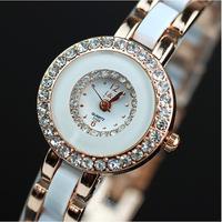 Free Shipping Fashion Hours Clock Women's Ladies Bracelet Wrist Quartz Watches with imitation Ceramic stainless steel watchband