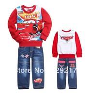 2013 autumn cartoon suits jeans suit long sleeve T-shirt + cowboy pants fleece suit wholesale free shipping