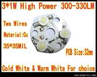 10pcs/Lot 3W 3*1W High Power Warm White LED 330LM 32mm PCB Star Platine Heatsink for Plant Grow Aquarium