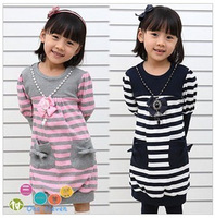 2014 New Fashion Girl dress + Necklace stripe Children's clothing Dress for girls 2-6 years kids clothes Navy blue pink