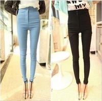 free shipping Retail summer sexy  fashion Princess super 8750 2013 2 buckle high waist elastic skinny pants