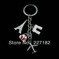 Paris Eiffel Tower triumphal arc de triomphe key ring keychain for girls Valentine gift men women plane shape free shipping