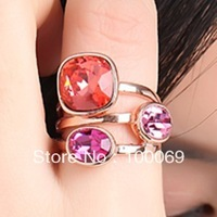 Multicolor 18K K Gold Plated Ring Jewelry Made with Genuine SWA ELEMENTS Austrian Crystal 4 Multi Sizes Wholesale R2013