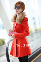 2013 Korean version of the new winter woolen jacket Slim wool collar double-breasted woolen coat and long sections Slim female