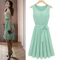 Womens Fashion Chiffon Pleated Mint Green Sleeveless Dress US Size 6 8 10