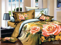 Hot sale!4pcs3d bedding sets100% cotton yellow rose smile Printed bedclothes the bed linen queen 5167