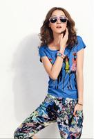 Hot-selling 2013 female casual set o-neck short-sleeve T-shirt fancy capris sports set