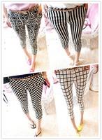 2013 lattice slim black and white vertical stripe casual women's thin capris