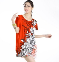 Summer 2013 Hot Sale Women Casual New Dress Bedazzle Clothing Elegant Novelty Cute Side Flowers Floral Print Plus Large Big Size