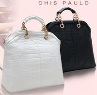 2013 high quality WEIDI POLO  brand women Crocodile composite Genuine cow leather handbag with Beading chain bag Free shipping