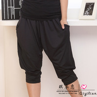 2013 new fashion summer casual women plus size lovely loose knee length black grey walking pirate shorts harem thin pants