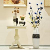 Ceramic modern brief fashion large floor vase black and white home decoration