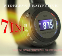 7 in 1 HIFI Wireless SD or MMC card wireless headphone Earphone Monitor FM radio for MP4 PC TV audio LED  headset,free shipping