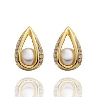 Free shipping,18k gold plated earring,High quality Pearl earrings,wholesale fashion jewelry earrings 18krgpe426