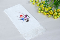 Free shipping Suzhou hand-embroidered narcissus pattern  silk tassel scarf