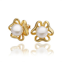 Free shipping,18k gold plated earring,High quality Pearl earrings,wholesale fashion jewelry earrings 18krgpe408