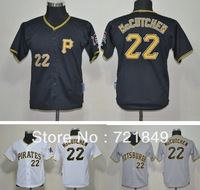 Youth Pittsburgh Pirates Jerseys #22 Andrew McCutchen cool base black,white,gray baseball jersey kids size S-XL