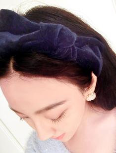 Velvet fabric big bow hair bands elegant ladies all-match headband bow hair pin