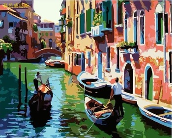 Frameless picture Digital oil painting  decorative painting colored drawing 40 50 venice river painting by numbers  unique gift