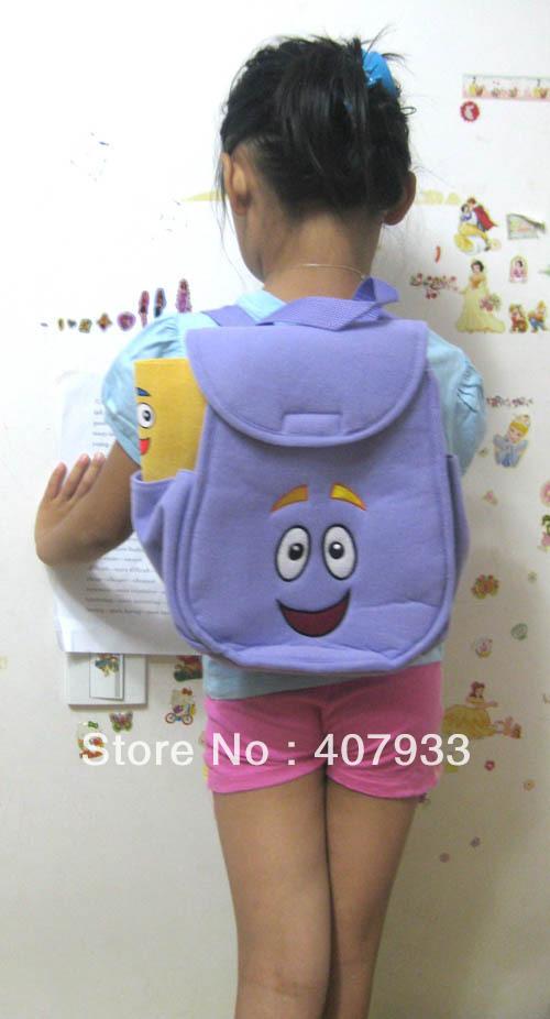 Sr. Rosto Backpack 30pcs 10.6X8.3X4.5'' Frete Grátis Dora The Explorer Plush Shool Saco roxo da criança Tamanho(China (Mainland))