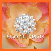 Free Shipping ! 100pcs/lot 25mm Pearl&Rhinestone Cluster ,Rhinestone Embellishment ,Wedding Invitation Buckle,bouquet buckle