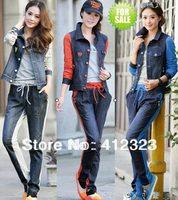Prom women girls famale cowboy jacket coat+pants jeans stylish sport sets suit