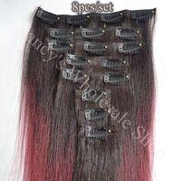 14'' 8PCS/Set Full Head Clip in Human Hair Extensions Yaki Straight burgandy Hair 2 tone Color Free Shipping