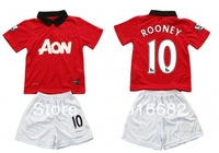 13/14 ROONEY 10 kids/children soccer jersey ,Embroidery Youth Uniforms