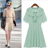 Fashion 2013 women's personalized bow pleated skirt sleeveless chiffon one-piece dress 9047