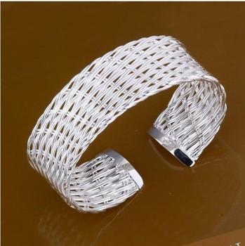 7BSSB035 Free Shipping Womens 925 Sterling Silver Weave Wide Cuff Bracelets for Women,Vintage Style Silver Bracelet Overstock