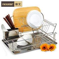 Stainless steel storage shelf double layer bowl rack dish rack drain rack kitchen supplies l