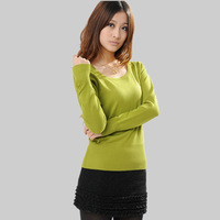 Spring autumn thin basic shirt short slim long-sleeve sweater high quality mercerized cotton sweater knitwear clothes