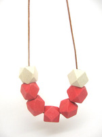 Geometric Wood Beads,Hand Painted wood Beads,White and red Geometric necklace, Leather cord necklace NW1358