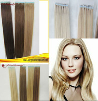 Free shipping + top quality wholesale stock hair extensions 100% european virgin hair tangle free tape weft tape extensions