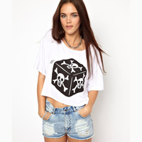 Women T-Shirts skull dice print short-sleeve o-neck white t-shirt female