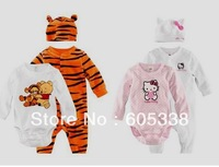 Retail  Baby romper 3 piece set (Rompers + cap+Bodysuits)/ tiger body animal style baby rompers bodysuits,yellow and pink
