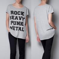 Women's T-Shirts heavy metal punk rock heavy metal punk letter print round neck T-shirt