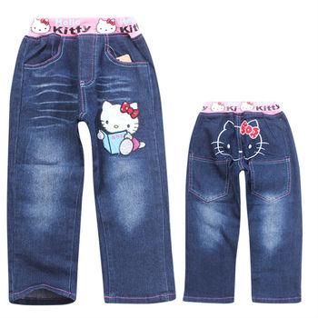 2013 new Autumn kids fashion Cartoon clothing baby Denim pants jean Hello Kitty children girl jeans kids long trouses 6pcs/lot