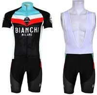 Free Shipping 2014 NEW! BIANCHI Black bib short sleeve cycling jerseys wear clothes bicycle/bike/riding jerseys+bib pants shorts