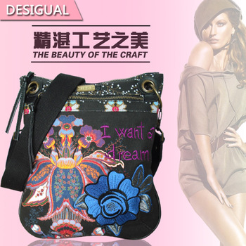 Wholesale handbags hot selling Desigual fashion casual canvas bag messenger bag wheat it women's handbag
