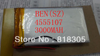 3.7V 3000Mah lithium polymer battery Size 4555107P battery for tablet PC