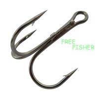 100 pcs 2.5cm black high carbon steel fishing triple hooks 35656 2# round bent treble hooks