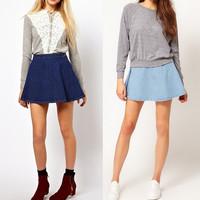 Spring Summer 2015 New Fashion Simple High Waist A-Line Denim Skater Skirt Saia Size S-L For Women Girl 322