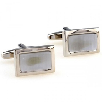 clock cufflinks The Elegant White Opal Cufflinks