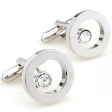 comprar abotoaduras círculo de prata romance online com abotoaduras de cristal branco(China (Mainland))