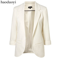 Hot Sale! Haoduoyi Candy Color Three Quarter Sleeve Blazer Roll Sleeve No Button Blazer Formal Slim  Free Shipping