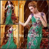 Noble Luxurious Elegant V-neckline Embroidered Long 2013 Party Dress Patterns Evening Dress JY2083