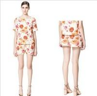 The Newest Style European Ladies Brand Fashion Elastic Waist Rose Printed Short Pants,Women's Casual Hot Pants kz22